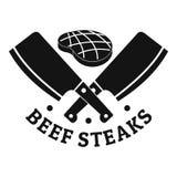 Logo delle bistecche del bbq del manzo, stile semplice Illustrazione di Stock