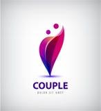 Logo delle coppie di vettore Ami insieme, sostegno, dell'uomo e della donna icona, concetto Fotografia Stock Libera da Diritti