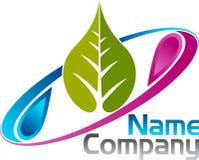 Logo delle gocce di acqua della foglia Fotografie Stock Libere da Diritti