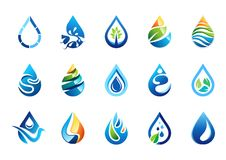 Logo delle gocce di acqua, insieme dell'icona di simbolo delle gocce di acqua, progettazione di vettore degli elementi di gocce d Fotografie Stock Libere da Diritti