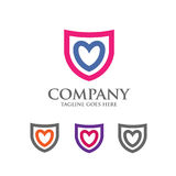 Logo dello schermo con il vettore dell'estratto del cuore di amore Immagini Stock