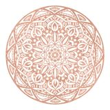 Logo dello studio di yoga di progettazione della mandala della stagnola di oro di Rosa, tatuaggio metallico, mandala decorata dec illustrazione vettoriale