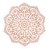 Logo dello studio di yoga di progettazione della mandala della stagnola di oro di Rosa, tatuaggio metallico, mandala decorata dec illustrazione di stock