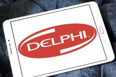 Delphi Technologies logo. Logo of Delphi Technologies on samsung tablet. The company provides combustion systems, electrification products and software and Royalty Free Stock Photography