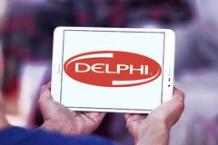 Delphi Technologies logo. Logo of Delphi Technologies on samsung tablet. The company provides combustion systems, electrification products and software and Stock Image