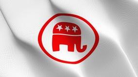 Logo demokratischer Partei Vereinigter Staaten fahnenschwenkend auf Wind lizenzfreie abbildung