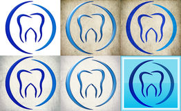 Logo dentario della clinica con retro fondo Fotografia Stock Libera da Diritti