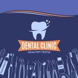 Logo dentario della clinica ed icone dentarie dello strumento Fotografia Stock