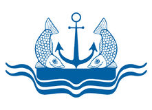 A logo depicting two fish, anchor, pier and waves. The logo is blue with a picture of two fish, anchor, pier and waves Stock Photos