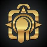 Logo der goldenen Kamera mit einer undichten Linse Stockbilder