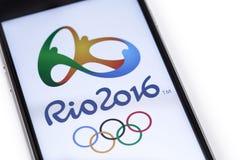 Logo der 2016 Sommer-Olympiade Stockfotos