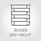 Logo der Vorhangtagnacht Ikonenzeichnung in der Entwurfsart Vektorgraphikaufkleber Lizenzfreies Stockfoto