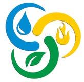 Logo des Feuers, des Wassers und der Anlage Stockbild