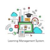 Logo des Lernens E-Learning-Software-Anwendung von des Management-System-LMS lizenzfreie abbildung