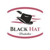 Logo des schwarzen Hutes produktion Lizenzfreie Stockfotos