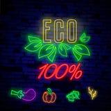 Logo des strengen Vegetariers in der Neonart Neonsymbol, helle Leuchtreklame, Neonnachtwerbung auf dem Thema des vegetarischen Le Lizenzfreies Stockfoto