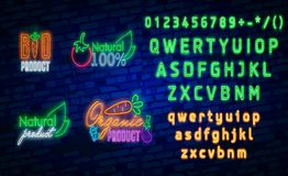 Logo des strengen Vegetariers in der Neonart Neonsymbol, helle Leuchtreklame, Neonnachtwerbung auf dem Thema des vegetarischen Le Stockfotografie