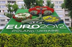 Logo DES UEFA-EUROturniers 2012 gemacht von den Blumen Stockbild
