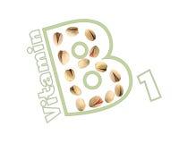 Logo des Vitamins B1 der Pistazien stockfoto