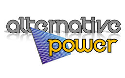 Logo design. Alternative power sign, solar panel royalty free stock photos