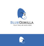 Logo design of a blue gorilla wearing glasses Stock Image