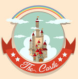 Logo design with castle and rainbow Stock Photography