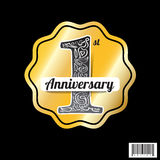 Logo design of celebration 1 years anniversary. Vector file Stock Photography
