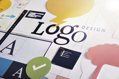 Logo design. Concept for logo design and development, branding, graphic design services, creative workflow stock images