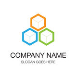 Logo design. Cube icons green and blue and orange material color. Hexagon shapes Royalty Free Stock Photos