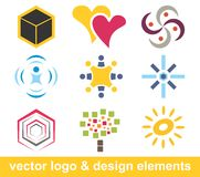 Logo and design elements. Multiple vector logo and design elements Stock Photos