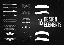 Logo design elements. Arrows, ribbon and patterns element on the chalkboard. Stock Image