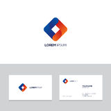 Logo design elements with business card template. Abstract modern blue and orange logo on business card template,  illustration Royalty Free Stock Photo