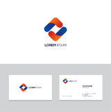 Logo design elements with business card template. Abstract modern blue and orange logo on business card template,  illustration Stock Images