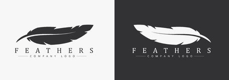 Logo design with feather and company name, for a writer. Or publishers. Template on black and white background. Vector illustration Royalty Free Stock Photos