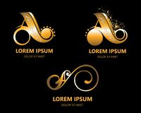 A LOGO DESIGN SET WITH FLORAL ELEMENT AND GOLD COLIRS royalty free illustration