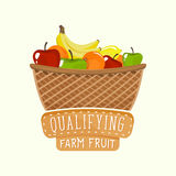 Logo design of fruit basket with lettering. Vector illustration. Painted logo design of full fruit basket with frame and lettering. Vector illustration for food Stock Images