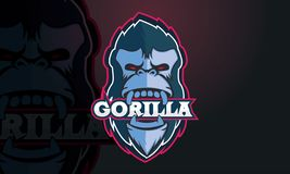 Gorilla logo design. A logo design with a gorilla face and the text gorilla in its mouth vector illustration
