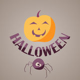 Logo design Halloween with pumpkin leaves and logo for decals or stickers Royalty Free Stock Photography