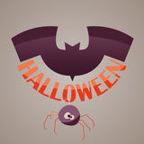 Logo design Halloween with pumpkin leaves and logo for decals or stickers Stock Image