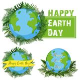 Logo design for happy earth day. Illustration Stock Image