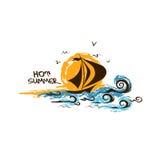 Logo design illustration with sailboat Royalty Free Stock Photos