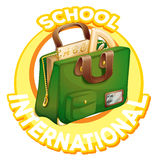 Logo design for international school with schoolbag Royalty Free Stock Photography