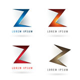 Logo design with letter shape. Logo design with letter Z shape elements and embossed 3d effect Royalty Free Stock Photography