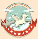 Logo design with Pegasus flying Stock Photo