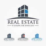 Logo Design Real Estate, Business, Company. Real estate logo design template. business logo. company logo.  Vector illustration. 4 color, gray-scale, black Vector Illustration