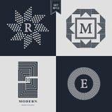 Logo-Design-Schablonen eingestellt Firmenzeichenelemente Sammlung, Ikonen-Symbole, Retro- Aufkleber, Ausweise, Schattenbilder Abs Lizenzfreies Stockfoto