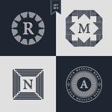 Logo-Design-Schablonen eingestellt Firmenzeichenelemente Sammlung, Ikonen-Symbole, Retro- Aufkleber, Ausweise, Schattenbilder Abs Stockfotos
