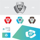 Logo design set Business card. Emblem with simple element and shield Business card template, 3 Colors set of Branding Royalty Free Stock Photos