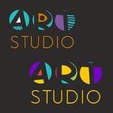 Logo design template for art studio, gallery, school of the arts. Creative art logo set. Vector illustration Stock Images