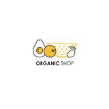 Logo design template in line icon style for organic products - fruits symbols. Royalty Free Stock Photos